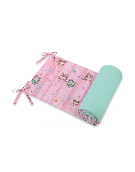 Uniwersalny ochraniacz do łóżeczka - sówki różowo-miętowe