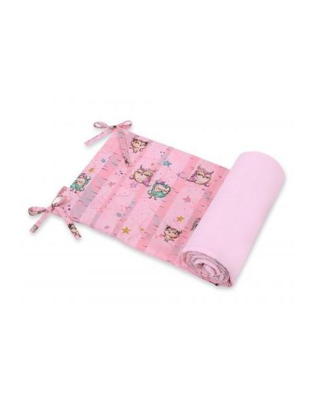 Uniwersalny ochraniacz do łóżeczka - sówki różowe