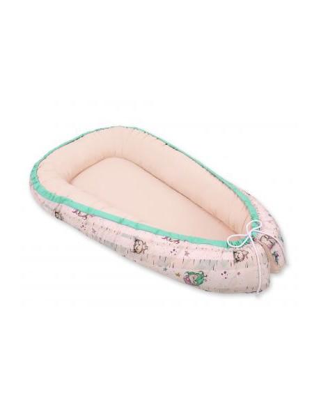 Kokon/ kojec niemowlęcy- sówki kremowo-miętowe/pudrowy róż