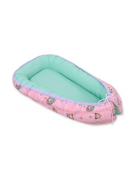 Kokon/ kojec niemowlęcy- sówki różowo-miętowe/miętowy