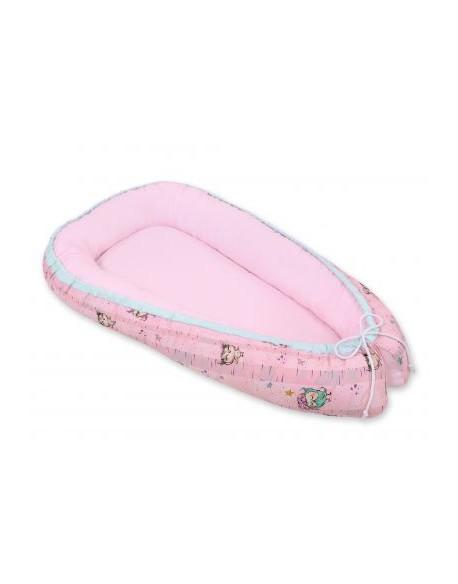 Kokon/ kojec niemowlęcy- sówki różowo-miętowe/różowy