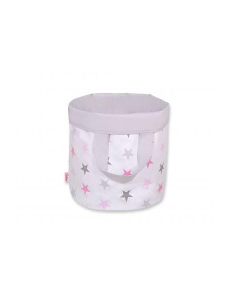 Dwustronny kosz na zabawki M- gwiazdki szaro-różowe/szary