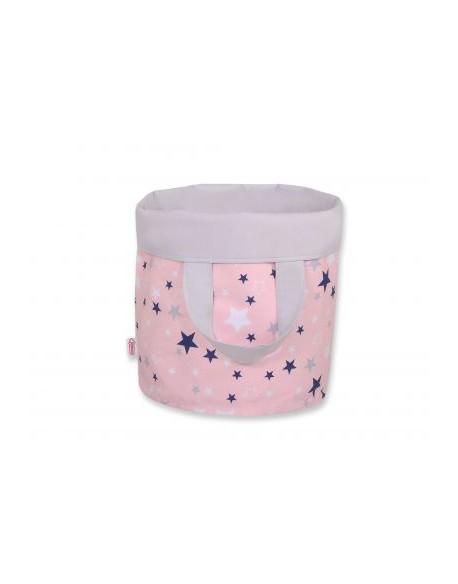 Dwustronny kosz na zabawki M - gwiazdki granatowo-białe na różowym tle/szary