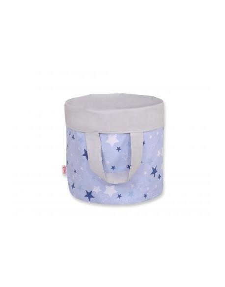 Dwustronny kosz na zabawki M - gwiazdki granatowo-białe na niebieskim tle/szary