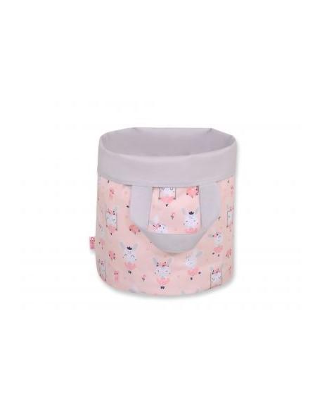 Dwustronny kosz na zabawki M- króliczki baletnice różowe/szary