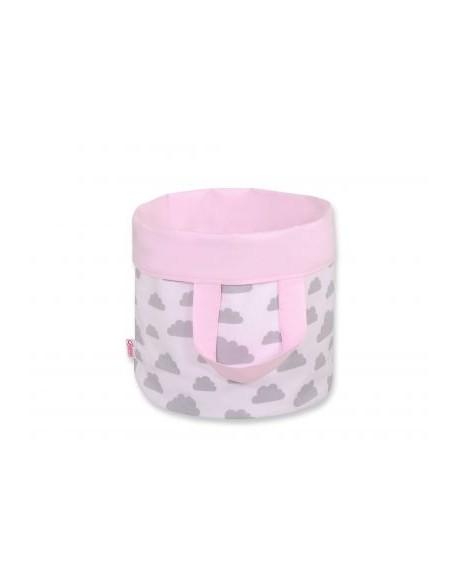 Dwustronny kosz na zabawki M - chmurki szare/różowy