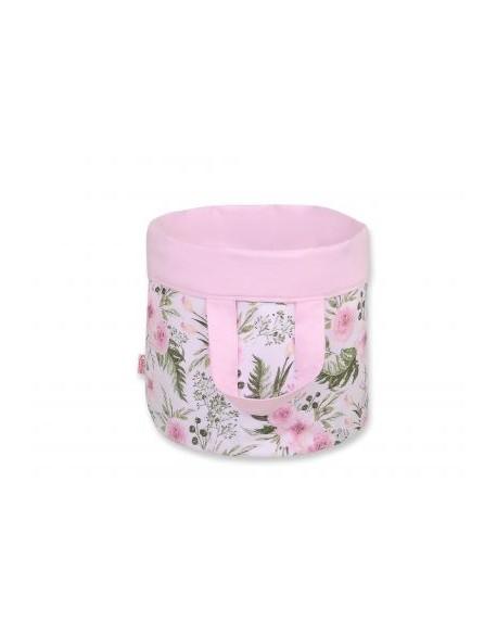 Dwustronny kosz na zabawki M - peonie różowe/różowy