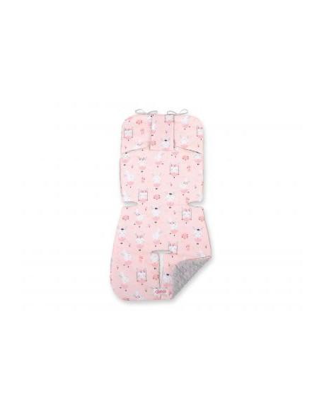 Wkładka do wózka BOBONO minky- króliczki baletnice różowe/szary