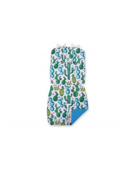 Wkładka do wózka BOBONO minky- kaktusy/turkusowy
