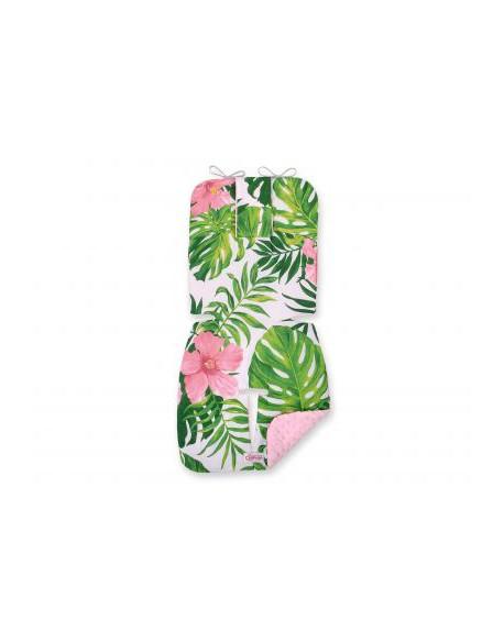 Wkładka do wózka BOBONO minky- kwiaty tropikalne/różowy
