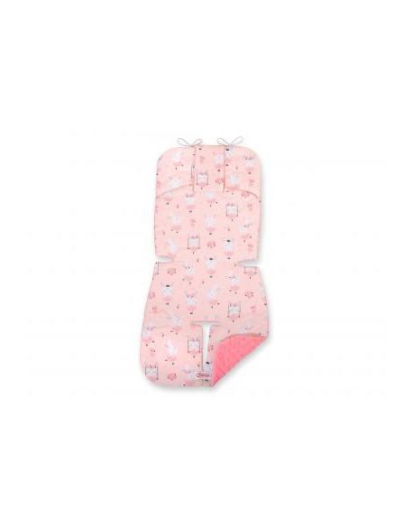 Wkładka do wózka BOBONO minky- króliczki baletnice różowe/pudrowy róż
