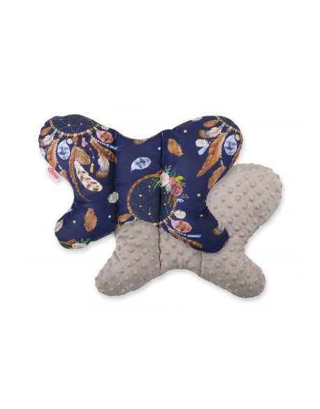 Poduszka antywstrząsowa BOBONO motylek - łapacze snów granatowe/popielaty brąz