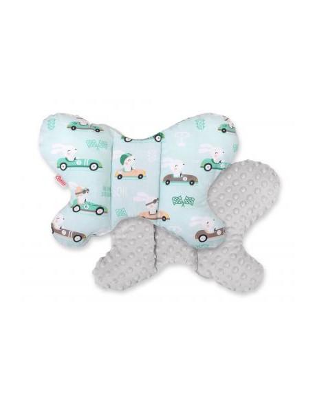 Poduszka antywstrząsowa BOBONO motylek - zajączki miętowe/szary