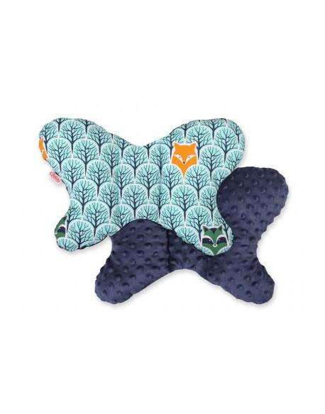 Poduszka antywstrząsowa BOBONO motylek - miętowy las/granat