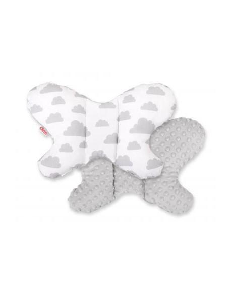 Poduszka antywstrząsowa BOBONO motylek - szare chmurki/szary