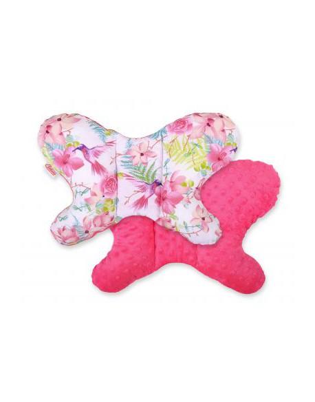 Poduszka antywstrząsowa BOBONO motylek - koliberki w kwiatach/ciemny róż