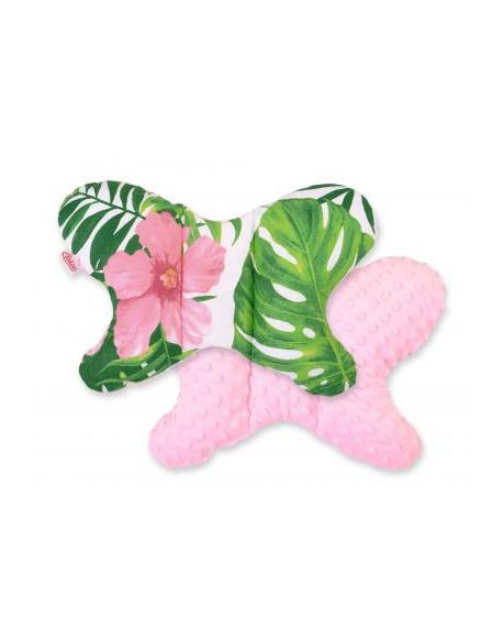 Poduszka antywstrząsowa BOBONO motylek - kwiaty tropikalne/różowy