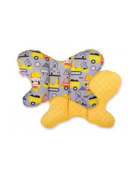 Poduszka antywstrząsowa BOBONO motylek - koparki szare/musztardowy
