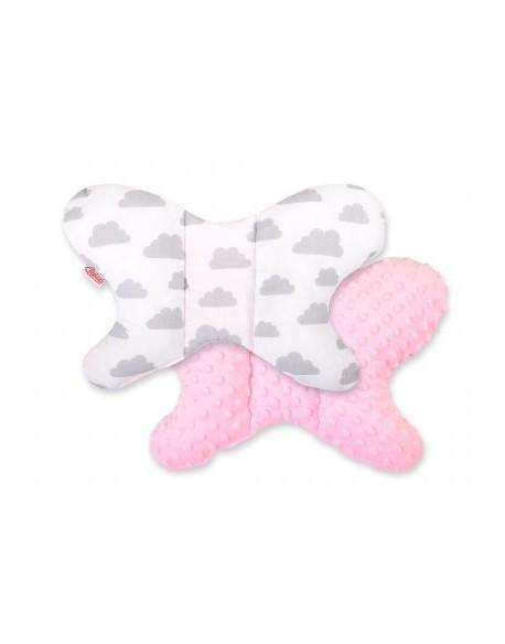 Poduszka antywstrząsowa BOBONO motylek - szare chmurki/różowy