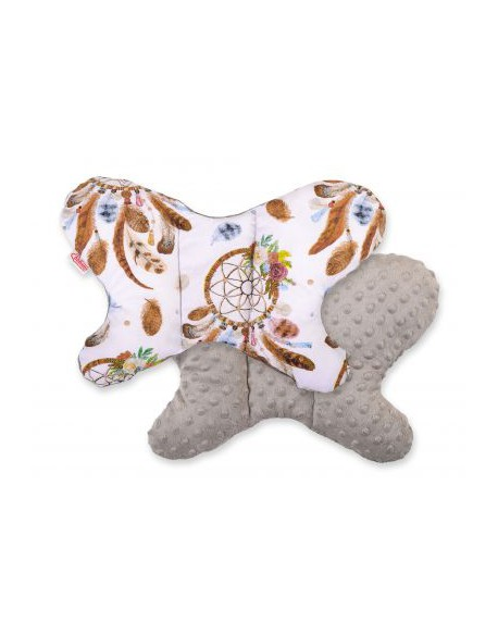 Poduszka antywstrząsowa BOBONO motylek - łapacze snów białe