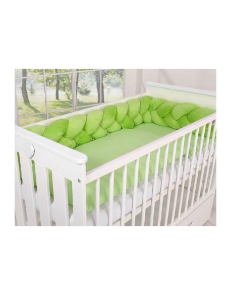 Ochraniacz warkocz pleciony MINKY do łóżeczka 180cm - zielony