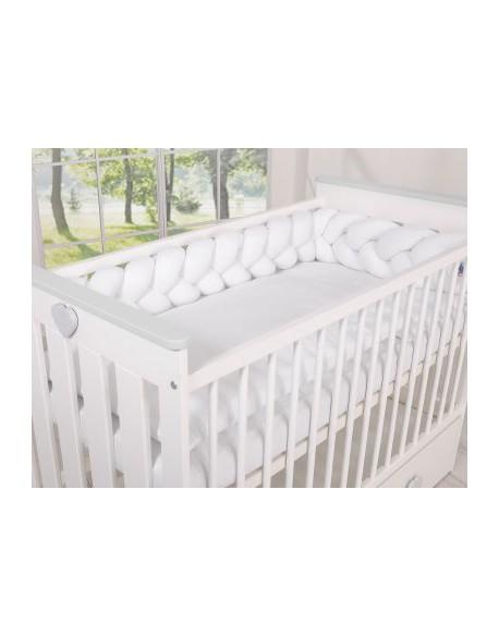 Ochraniacz warkocz pleciony MINKY do łóżeczka 180cm - biały