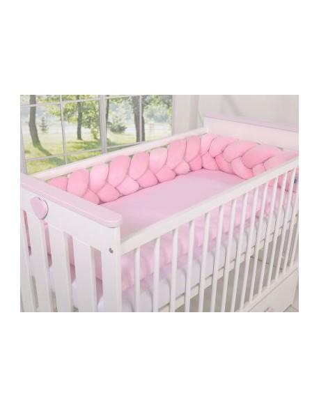 Ochraniacz warkocz pleciony MINKY do łóżeczka 180cm - różowy