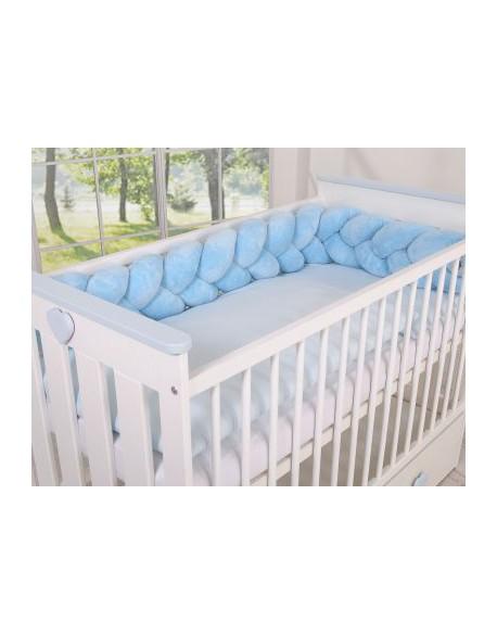 Ochraniacz warkocz pleciony MINKY do łóżeczka 180cm - niebieski