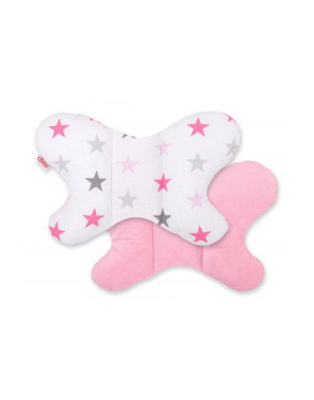 Poduszaka antywstrząsowa BOBONO motylek - gwiazdy szaro-różowe/różowy