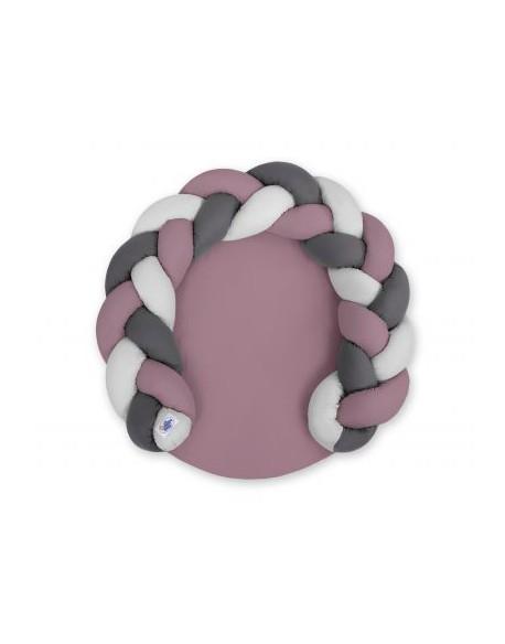 Gniazdko dla niemowląt/ mata do zabawy 2 w 1 - retro róż-szary-antracyt