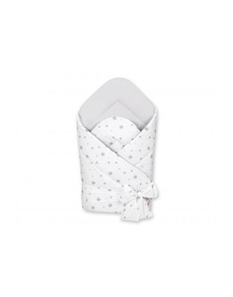 Dwustronny rożek miękki z wiązaniem - mini gwiazdki szare na białym tle