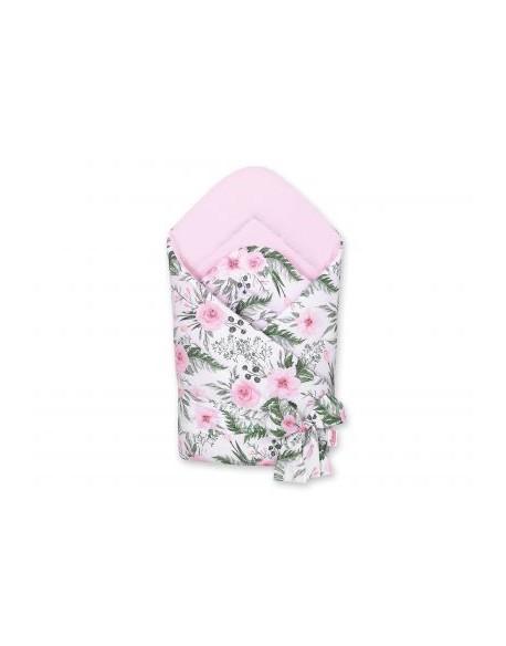 Dwustronny rożek miękki z wiązaniem - peonie różowe