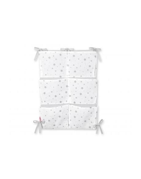 Przybornik uniwersalny z kieszonkami - mini gwiazdki szare na białym tle