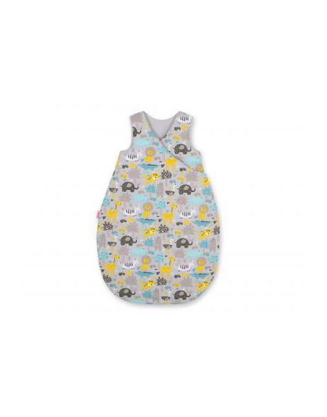 Śpiworek niemowlęcy - zwierzątka szaro-miętowe