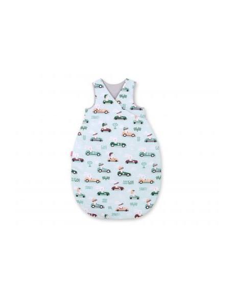 Śpiworek niemowlęcy - zające w autkach miętowe