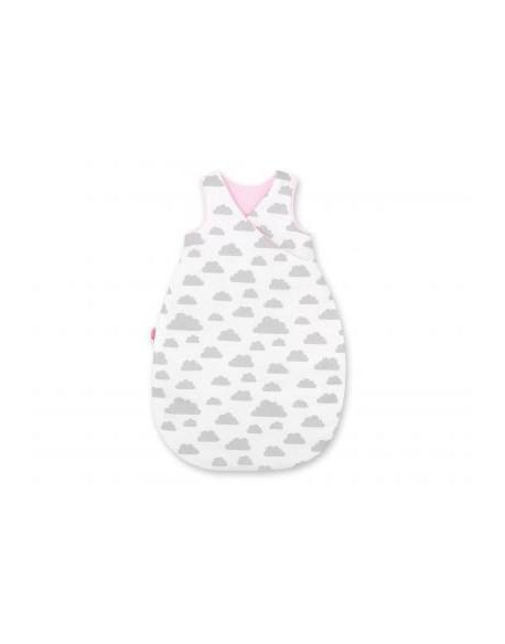 Śpiworek niemowlęcy - chmurki szare/różowe