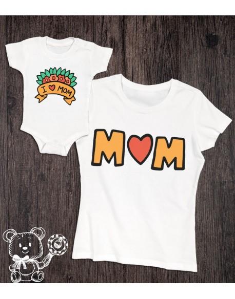 Koszulka i body dla mamy i syna/córki I LOVE