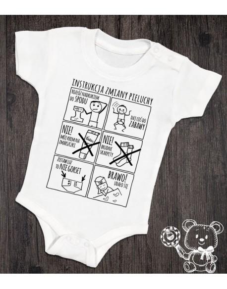 Body/koszulka z instrukcją zmiany pieluchy