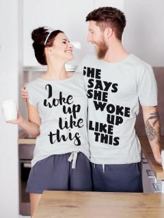 Piżamy dla pary woke up