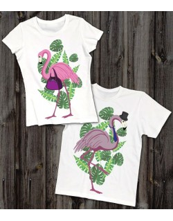 Koszulki dla pary Flamingi