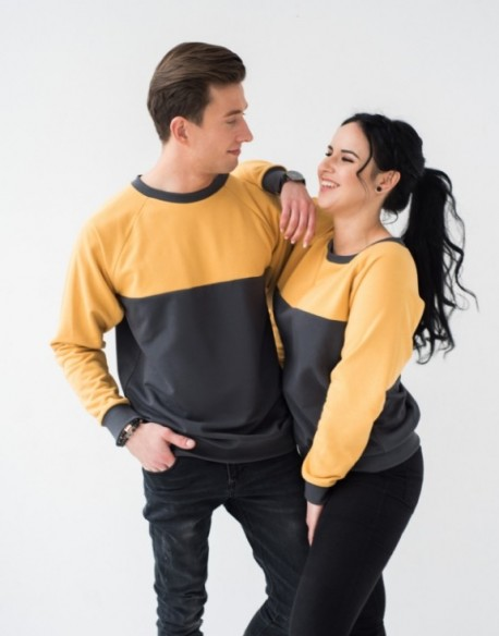 Bluzy dla pary żółto-grafitowe