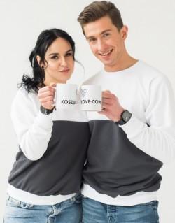 Bluzy dla pary biało-grafitowe