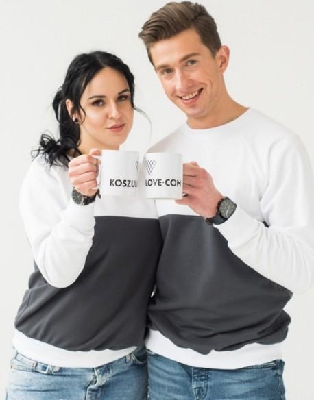 Bluzy dla pary biało-czarne