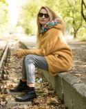 Ocieplany płaszcz bawełniany do noszenia MUSZTARDOWY