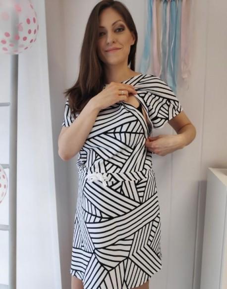 Sukienka do karmienia piersią i ciążowa SOCOOL B&W