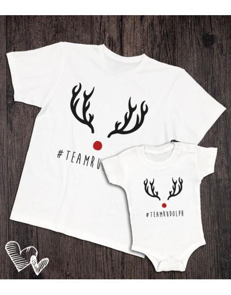 Koszulka i body/koszulka dla taty i dziecka RUDOLF