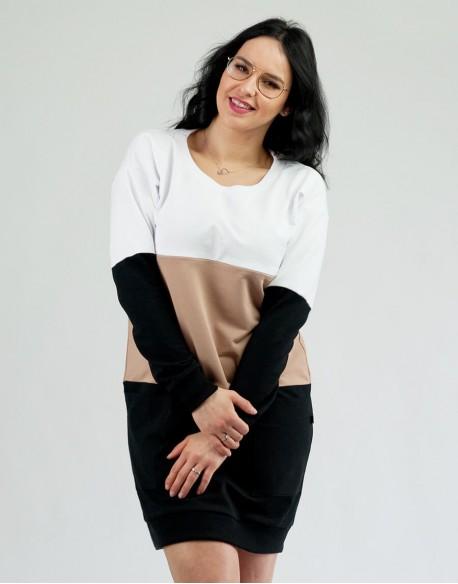 Sukienka ciążowa i do karmienia piersią COMFY Latte