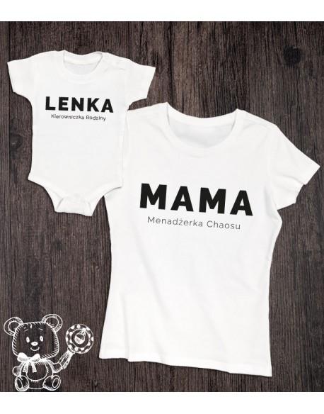 Koszulka i body dla mamy i córki Menadżerka Kierowniczka
