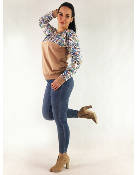 OUTLET/Bluza do karmienia piersia Color Power Boho latte