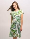 Sukienka do karmienia piersią i ciążowa SOCOOL liście biała